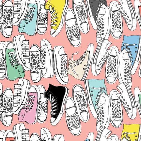 All-Stars* (Mona) || sneakers tennis shoes fashion sports converse geek chic punk emo 80s fabric by pennycandy on Spoonflower - custom fabric