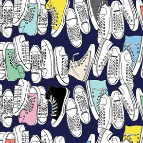 All-Stars* (Jackie Blue) || sneakers tennis shoes fashion sports converse geek chic punk emo 80s