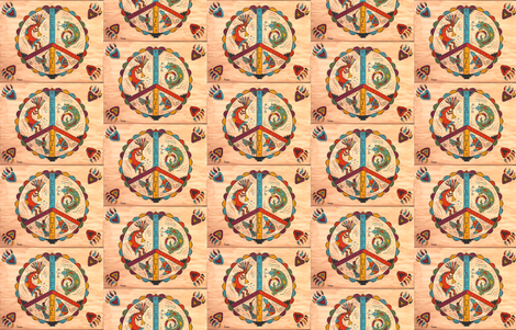 Southwest Peace and Love-ed fabric by sweber on Spoonflower - custom fabric