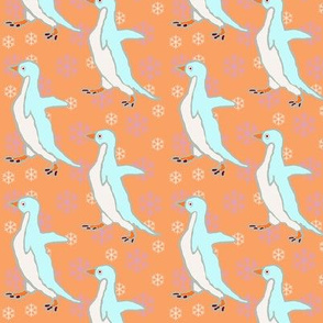 Baby Penguins on Orange
