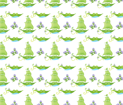 Sweetpea Babies In Boats Purple fabric by diane555 on Spoonflower - custom fabric