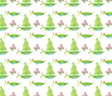 Sweetpea Babies In Boats Pink fabric by diane555 on Spoonflower - custom fabric