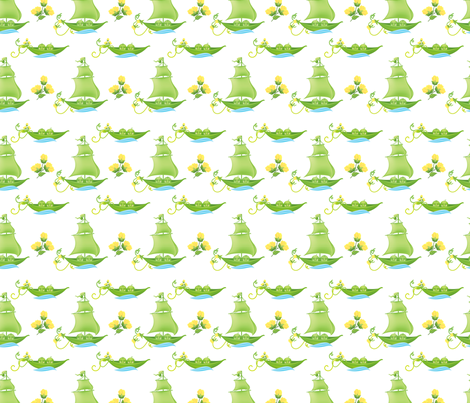 Sweetpea Babies In Boats Yellow fabric by diane555 on Spoonflower - custom fabric