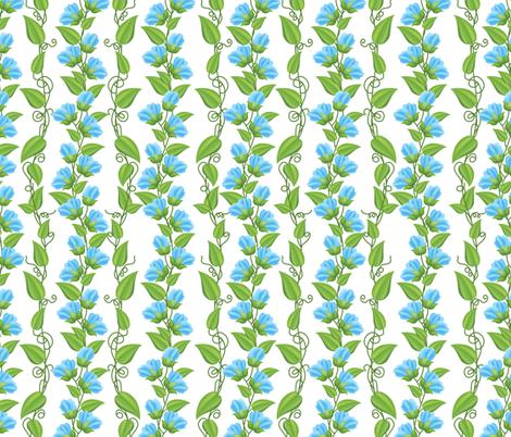 Rambling  Sweetpea Vines Blue fabric by diane555 on Spoonflower - custom fabric