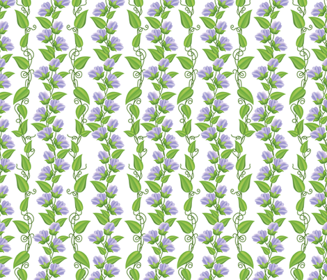Rambling  Sweetpea Vines  Purple fabric by diane555 on Spoonflower - custom fabric