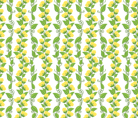 Rambling  Sweetpea Vines Yellow fabric by diane555 on Spoonflower - custom fabric