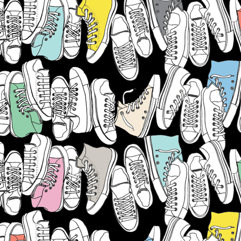 All-Stars* (Revisited Black) || sneakers tennis shoes fashion sports converse geek chic punk emo 80s fabric by pennycandy on Spoonflower - custom fabric