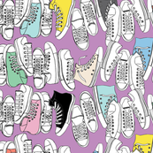 All-Stars* (Lavender Disaster) || sneakers tennis shoes fashion sports converse geek chic punk emo 80s