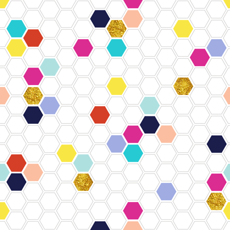 Pixie Hexies* || geometric hexagon beehive honeycomb glitter sparkle fabric by pennycandy on Spoonflower - custom fabric
