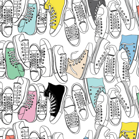All-Stars* ('80s Pastels) || sneakers tennis shoes fashion sports converse geek chic punk emo 80s fabric by pennycandy on Spoonflower - custom fabric