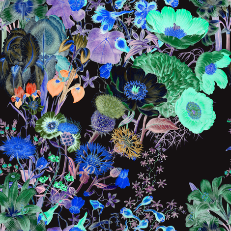Bloomin' Lovely  ~ Nightshade  fabric by peacoquettedesigns on Spoonflower - custom fabric