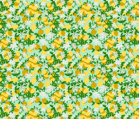 LEMON_BLOSSOM_SEAMLESS fabric by anino on Spoonflower - custom fabric
