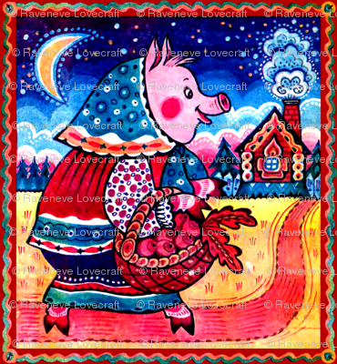 vintage retro kitsch night moon stars conifers trees forests cottages homes pigs farmers folk art vegetables radishes