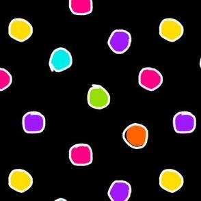 Happy Chalk Dots Black