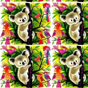 vintage retro kitsch koala bears birds parrots parakeets butterflies butterfly paradise trees forests leaves