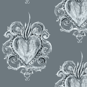 Exvoto hearts on gray