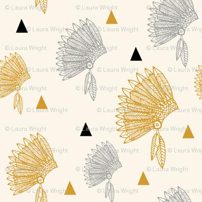 gold headdress black triangles