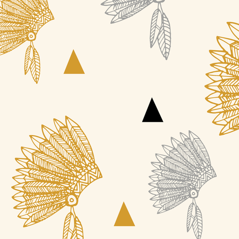 gold headdress black triangles fabric by laurawrightstudio on Spoonflower - custom fabric