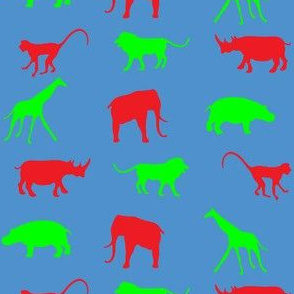 African Safari Animals on Parade -- Red and Green on White-ch