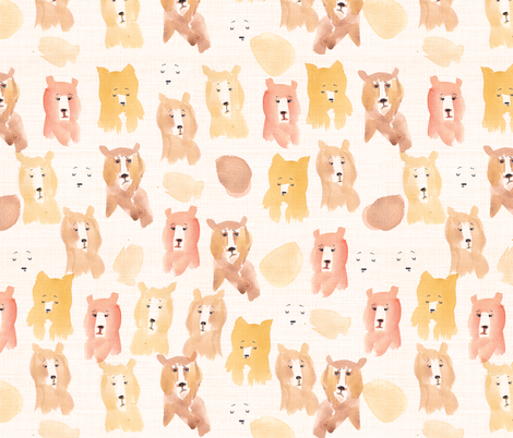 bear watercolor fabric by laurawrightstudio on Spoonflower - custom fabric