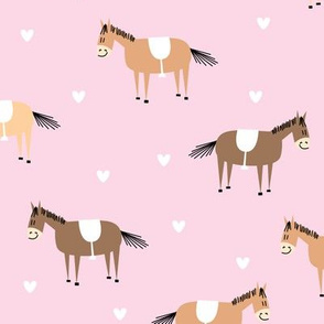 horse and pony on pink