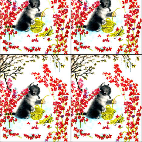 vintage retro kitsch puppy puppies dogs flowers blossoms baskets weaving knives knife husky huskies fabric by raveneve on Spoonflower - custom fabric