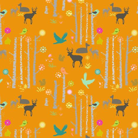Woodland Deer Orange fabric by googoodoll on Spoonflower - custom fabric