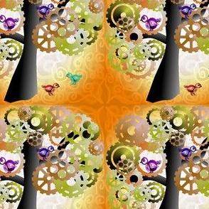 Brass cog tree with birds