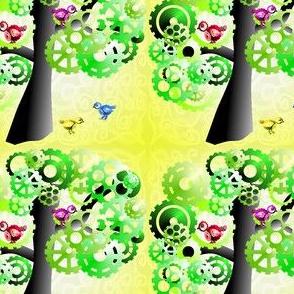 Summer cog tree with birds