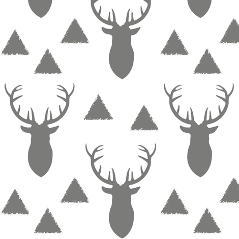 Deer Triangles Vintage Gray White fabric by googoodoll on Spoonflower - custom fabric