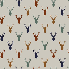 Navy Rust Gold Blue Deer on Gray Background