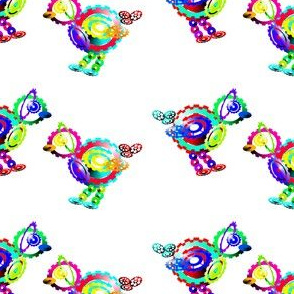 Two colourful cog birds on white