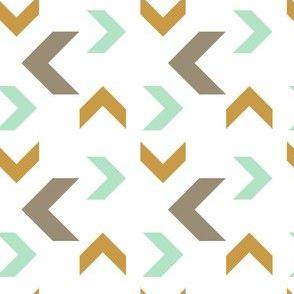 Aztec Arrows gold aqua gray