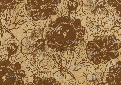 Flowers And Gears Vintage Brown