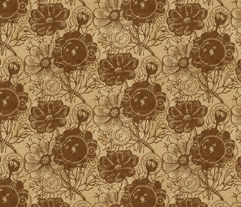 Flowers And Gears Vintage Brown fabric by ophelia on Spoonflower - custom fabric