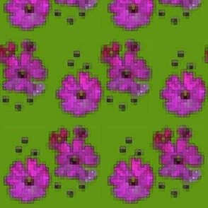 Digital Flowers - Pink on Lime Green