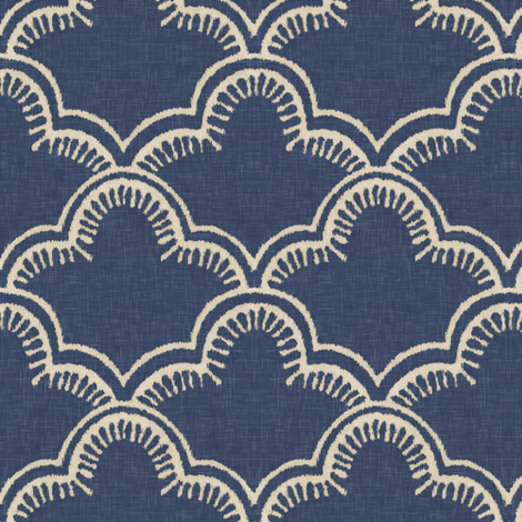 Tangier in Indigo Linen fabric by willowlanetextiles on Spoonflower - custom fabric