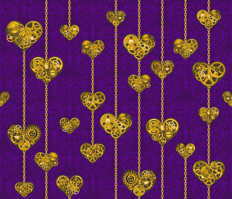 My heart Steams for you /Vio fabric by juliesfabrics on Spoonflower - custom fabric
