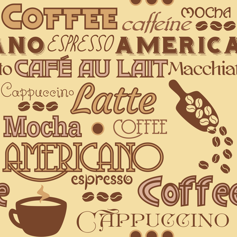 Coffee Words fabric by lyddiedoodles on Spoonflower - custom fabric