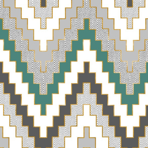 Luxe Chevron in Teal and Charcoal