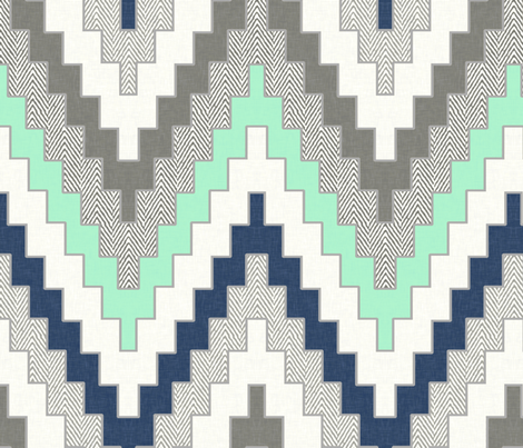 Luxe Chevron in Navy, Charcoal and Mint fabric by willowlanetextiles on Spoonflower - custom fabric