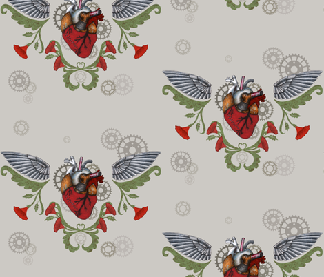 Clockwork Heart fabric by bella_modiste on Spoonflower - custom fabric