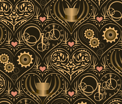 Golden Steampunk Love fabric by robinpickens on Spoonflower - custom fabric