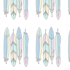 4 Feathers in line pastel - BlueMoon Design