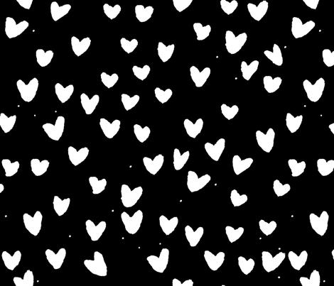 cestlaviv_blackwhitehearts fabric by cest_la_viv on Spoonflower - custom fabric