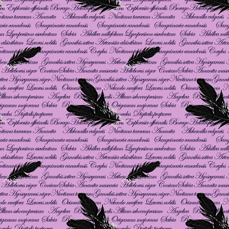 Manuscript with Feathers (Purple) fabric by arts_and_herbs on Spoonflower - custom fabric