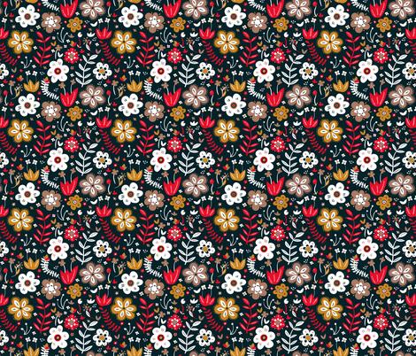 Folk flowers fabric by marina_grzanka on Spoonflower - custom fabric