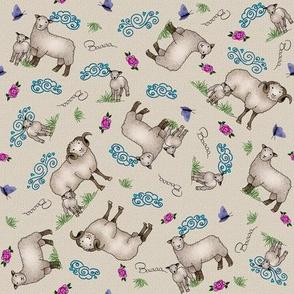 Bo Peeps Ditsy Sheep Tan