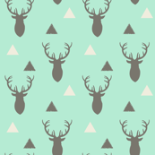 Gray and Mint Triangles and Deer