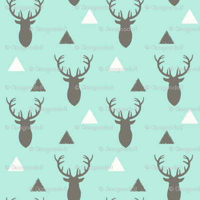 Gray White Aqua Deer Heads and Triangles